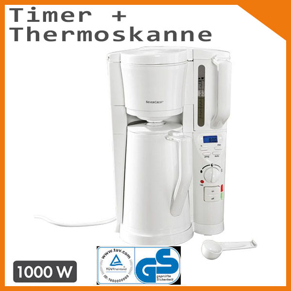 silvercrest kaffeemaschine mit thermoskanne timer zeitschaltuhr weiss ebay. Black Bedroom Furniture Sets. Home Design Ideas